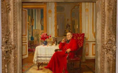 """VICTOR MARAIS-MILTON (FRENCH, 1872-68), OIL ON BEVELED PANEL, H 18"""", W 15"""", SEATED CARDINAL"""