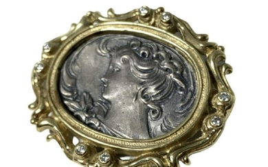 VICTORIAN 14KT YLW GOLD & DIAMOND CAMEO LADY PIN