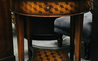 VINTAGE PARQUETRY INLAID ROUND SIDE TABLE