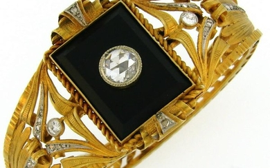 Victorian Black Onyx Diamond Yellow Gold Bangle