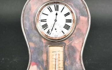 Victorian Sterling and Leather Desk Clock