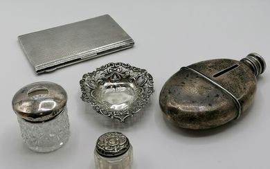 Victorian silver & glass hip flask (dents + damaged neck of ...