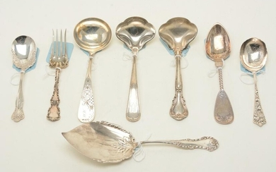 Victorian sterling silver serving utensils. Lot