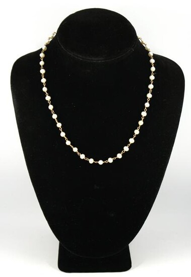 Vintage 14K Yellow Gold And Pearl Link Necklace
