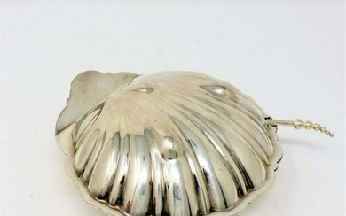 Vintage Clam Shell Shaped Silver-plate Caviar Dish &