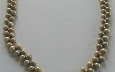 Vintage Hand crafted Pinkish grey Pearl Sterling silver disk necklace FR3SH