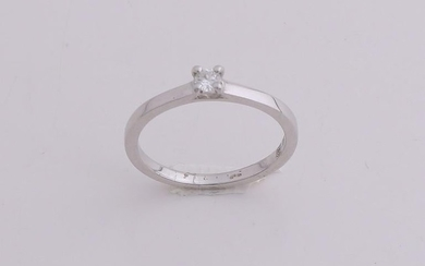White gold solitaire ring, 585/000, with diamond. White
