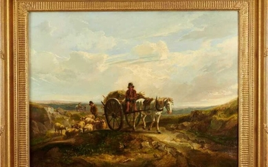 Williamson (19th century) oil on canvas, cart in a landscape
