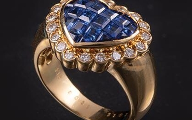 Yellow Gold, Sapphire and Diamond Heart Ring