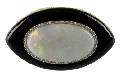 Yellow gold opal ring with onyx and diamonds, Germany circa 1990, central large white opal cabochon with strong play of colours, with approx. 15,0 ct., set in entourage and surrounded by approx. 88 brilliant-cut diamonds, total approx. 1,0 ct, colour...