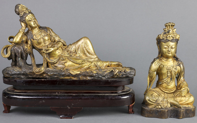 (lot of 2) Gilt-bronze figure of Guan Yin
