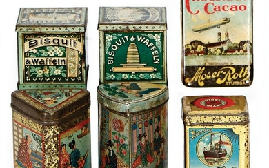 mixed lot with 5 pieces, high-quality tin cans, around