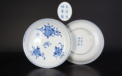 set of blue and white plates with flower decoration and guanxu mark and period (2) - Blue and white - Porcelain - China - 19th century