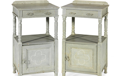 A pair of grey painted bedside cupboards or night stands