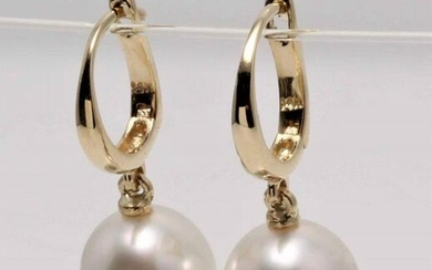 14 kt. Yellow Gold - 9x10mm South Sea Pearl Drops