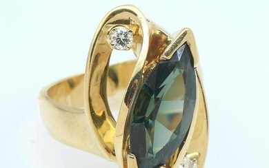 14K BLUE/GREEN SYNTHETIC SPINEL & DIAMOND RING
