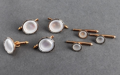 14K Yellow & White Gold Mother-Of-Pearl Dress Set