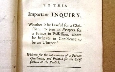 1717 Pamphlet An Answer to an Important Inquiry