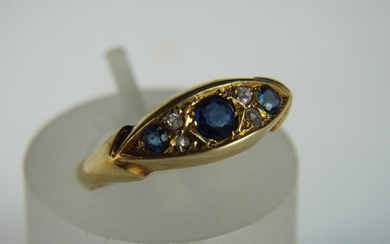18ct Gold ring set with Diamonds and Sapphires. 2.7g 'N' Bir...