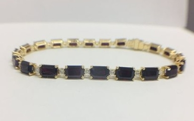 18ct yellow gold ruby and diamond tennis bracelet...