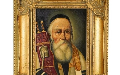 19th C. Oil on Board Painting of Rabbi