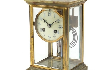 19th century French onyx and brass four glass mantle clock s...