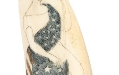 POLYCHROME SCRIMSHAW WHALE'S TOOTH Depicts Lady Liberty seated on a plinth holding an American shield in her right hand and a staff...