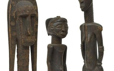 (3) LARGE WEST AFRICAN FIGURAL WOOD CARVINGS