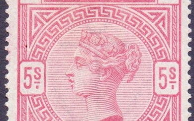 GREAT BRITAIN STAMPS : 1884 5/- Rose, mounted mint lettered ...