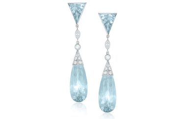 Description A PAIR OF EARLY 20TH CENTURY AQUAMARINE AND...