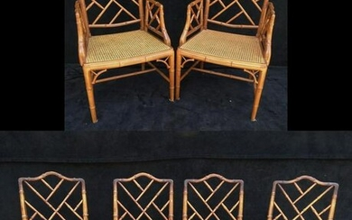 "6 FAUX BAMBOO CANED SEAT CHAIRS ( ONE SEAT AS IS) 37""H"