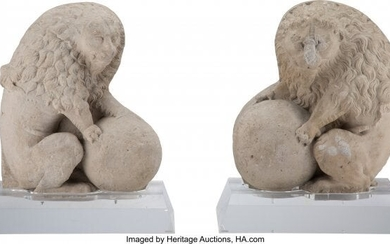 61036: A Pair of Northern Italian Carved Marble Lions w
