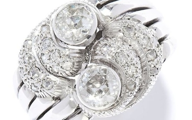 VINTAGE DIAMOND COCKTAIL RING in white gold or