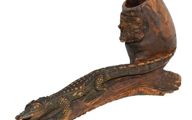 "8 1/4"" Historic Hand Carved Wooden Pipe. Tourist trade"