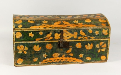 A 19TH CENTURY DOME TOP PINE TRUNK/MARRIAGE CHEST