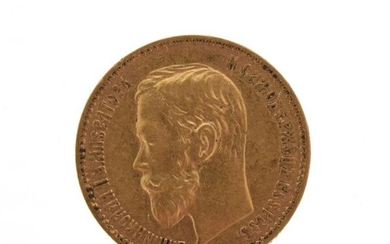 A 5 rouble gold coin Russia Nicholas II