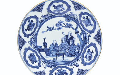 A BLUE AND WHITE 'PRONK DOCTORS' PLATE, QIANLONG PERIOD, CIRCA 1738