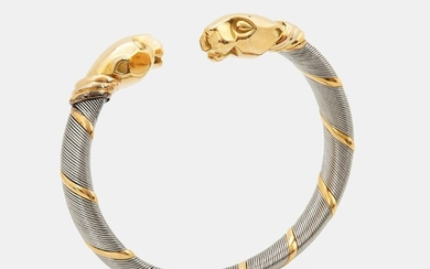 """A Cartier """"Panthère"""" bracelet in steel and 18K gold"""