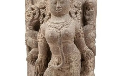 A Central Javanese Style Stone Stele of Durga Slaying