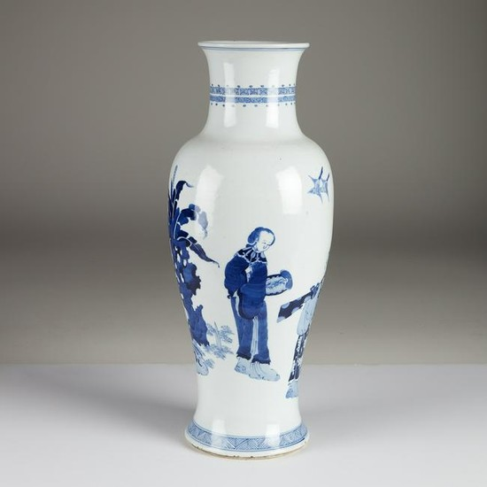A Chinese blue and white tall porcelain baluster vase