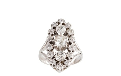 A DIAMOND CLUSTER RING, of navette form, set with old cut di...