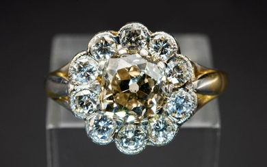 A DIAMOND CLUSTER RING, the central brilliant cut