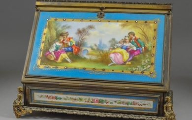A French Gilt Brass Framed and Porcelain Mounted Stationery...