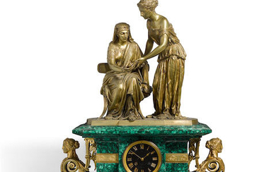 A French Gilt Bronze and Malachite Clock
