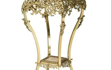 A French brass and stone fern stand