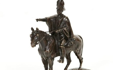 A French patinated bronze equestrian figural group