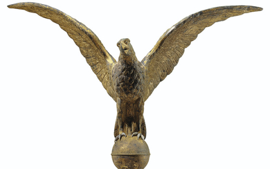 A GILT MOLDED COPPER-AND-ZINC SPREAD-WINGED EAGLE ARCHITECTURAL FINIAL, AMERICAN, 19TH CENTURY
