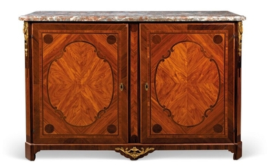 A LATE LOUIS XV ORMOLU-MOUNTED TULIPWOOD AND AMARANTH SIDE CABINET, CIRCA 1770