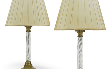 A PAIR OF BRASS-MOUNTED SPIRAL TWIST GLASS COLUMN TABLE LAMPS, BY VAUGHAN, 20TH CENTURY
