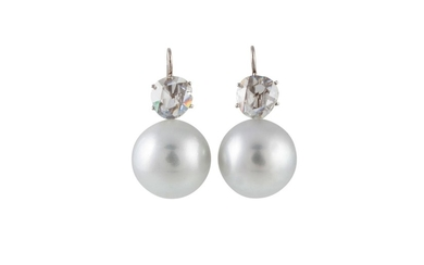 A PAIR OF CULTURED SOUTH SEA PEARL AND DIAMOND EARRINGS, wit...